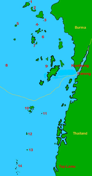 a map of Burma and Surin / Similan islands (Thailand)