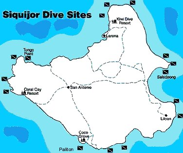 A map of Siquijor dive sites